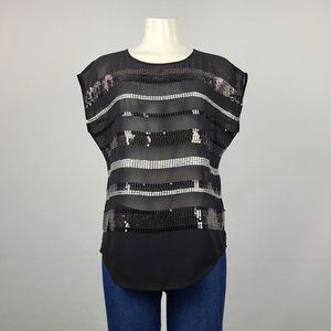 Guess Sequined Top Black & Silver Size S